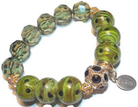 Handmade green glass bead stack stretch bracelet, The green bracelet, Elaini Arthur bracelet collection