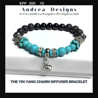 THE YIN YANG CHARM DIFFUSER BRACELET, black lava rock stones, turquoise stones, black bright agate stones, essential oil diffuser bracelet, stretch bracelet, woman's size, gift for her.