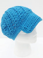 Newsboy crochet hat, handmade hat with bill, emblemished hat with buttons, cotton yarn, The royal blue hat