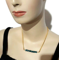Dainty green glass beads bar necklace, The green roses necklace, choker