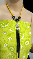 Metal pendant with tassel necklace, yellow paracord, The summer bird necklace