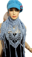 Handmade cotton wrap, light blue cotton yarn, triangular shawl, The Spring shawl,