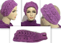 Crochet headband, purple cotton, handmade, woman size, The purple headband