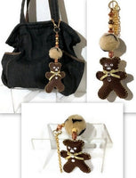 Bear handbag charm, handmade purse embellishment, keyring, The brown teddy bear handbag charm