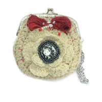 The cream rose coin purse, beige cotton, wristlet, handmade purse