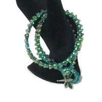 Double wrap beaded macrame bracelet, green nylon cord, The emerald bracelet