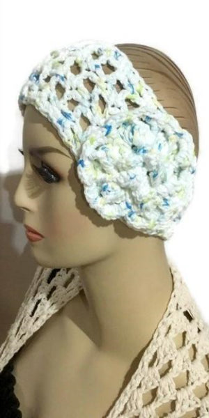 Crochet cotton headband, white cotton, handmade, The hydrangea headband, woman size