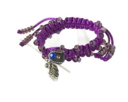 Macrame art, beaded macrame wrap, adjustable clasp, The purple rose bracelet