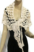 Crochet shawl, THE VANILLA SHAWL, cotton cover up, triangular wrap, READY TO SHIP