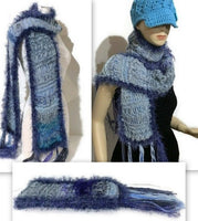 THE BLUE SKIES ALPACA SCARF, knitted alpaca scarf, woman size, one of a kind, gift for her, Christmas gift, winter wear