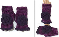 THE PURPLE MERINO FINGERLESS GLOVES, handmade crochet fingerless gloves, woman's size, stocking stuffer, gifts for her, andrea designs handmade fingerless gloves, christmas gift,
