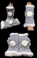 The silver blue alpaca fingerless gloves, fingerless gloves, women's fingerless gloves, crochet fingerless gloves, handmade fingerless gloves,