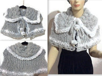 Valentine's day, fold over cowl, shoulder's warmer, knit cowl, woman's size, faux fur, acrylic, The silver gray cowl