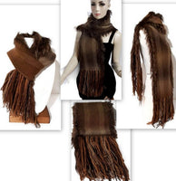 Handmade woven scarf, alpaca yarn, The brown scarf, woman size, boho chic