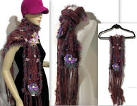 Fiber art, knit scarf, woman size, alpaca fiber, rust-brown-hollyberry color, andrea designs, the romance,