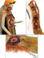 Orange alpaca fiber, hand woven woman's size neckwear, andrea designs handmade scarves, the orange mum scarf, winter wrap,  must have gift