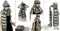 THE SHADES OF GRAY SCARF, knitted light gray alpaca yarn, gray polyester fux fur, handmade wrap, andrea designs handmade scarf, gift for her, for winter, a must have