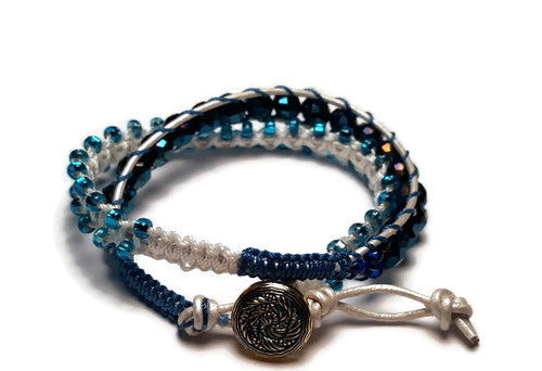 Beaded wrap macrame bracelet, double leather wrap, Royal blue petunia bracelet