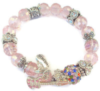 Beaded bracelet, pink rondelle crystal beads with rhinestones, boho chic, stretch bracelet, The pink bracelet, The Elaini Arthur bracelet collection