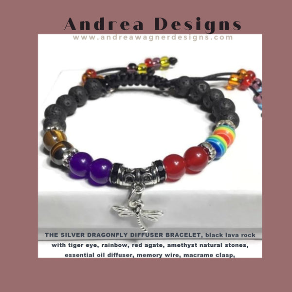 THE SILVER DRAGONFLY DIFFUSER BRACELET, black lava rock with tiger eye, rainbow, red agate, amethyst natural stones, essential oil diffuser, memory wire, macrame clasp,