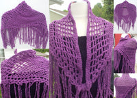 Crochet purple cotton pima shawl, handmade shawl, boho chic, The summer grapes shawl
