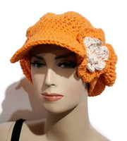 The carrot hat, handmade crochet cotton beanie with cap, woman size,