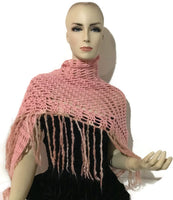 Handmade crochet shawl, pink alpaca yarn, woman size, The pink shawl