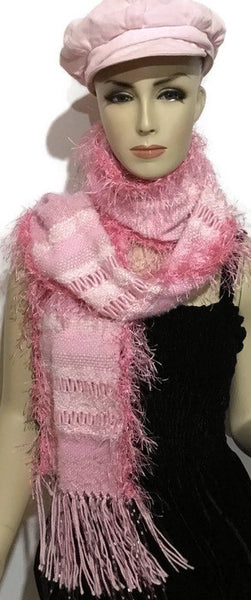 Hand woven pink alpaca scarf, boho chic, The pink woven scarf