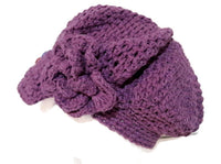 Newsboy crochet hat, purple cotton, woman size, The purple hat