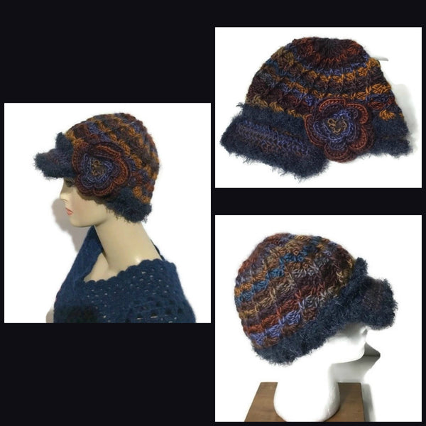 Rust gold, brown, purple, blue hat, THE BLUE ANDES CROCHET HAT, handmade beanie with visor brim, acrylic yarn, woman size, ready to ship