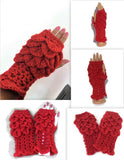THE RED FINGERLESS GLOVES,  handmade crochet wear, crocodile stitch, winter wear, fingerless mittens