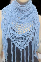 Handmade crochet shawl, light blue Peruvian pima cotton, woman size shawl, summer shawl, Blue chic style, The light blue cotton shawl