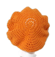 Handmade crochet cotton beanie with cap, woman size, The carrot hat
