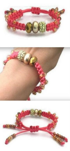 Woman handmade beaded macrame bracelet, The coral pink bracelet, boho chic