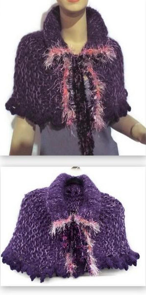 Handmade knit alpaca capelet, shoulder warmer, purple alpaca, The grapes capelet.