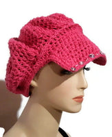 Handmade hat with sequins, crochet pink cotton beanie with bill,The hot pink hat