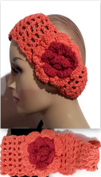 Crochet headband, cotton headband, orange headbank, handmade headband, The orange headband