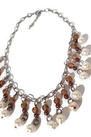 Choker necklace, white glass pearls,  brown beads, the pearls choker necklace