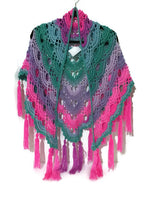 Handmade crochet shawl, variegated acrylic yarn, fall shawl, handmade wrap,  The pink aster shawl