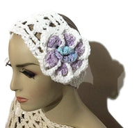 Crochet headband, white cotton yarn, headband with purple crochet flower, The purple flower headband, handmade