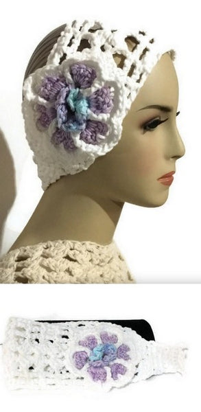 Crochet headband, white cotton yarn headband with purple crochet flower, The purple flower headband, handmade