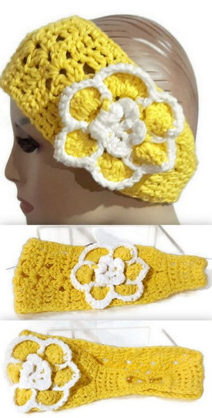 Handmade crochet headband, yellow cotton headband, women size, The sunflower headband