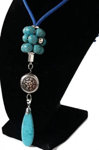 Drop turquoise stone pendant, blue paracord, the turquoise teardrop necklace