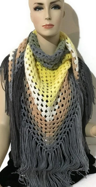 Boho chic style  shawl, crochet handmade shawl, The yellow bell shawl