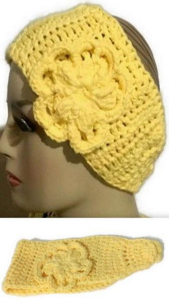 Crochet headband, cotton headband, handmade headband, The yellow pineapple headband