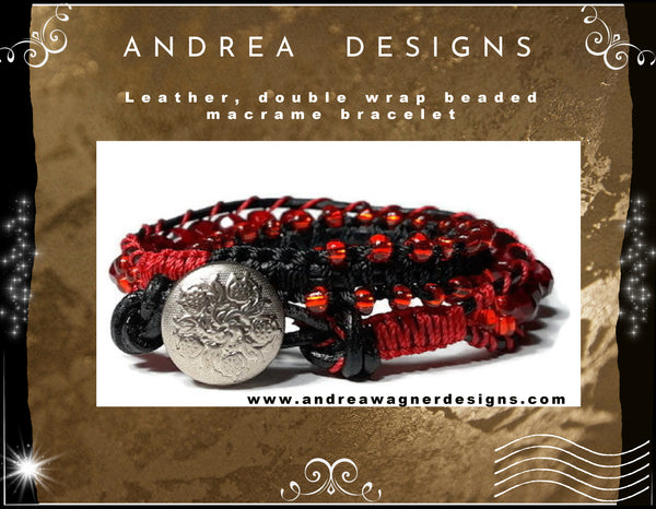 Leather  double wrap beaded macrame bracelet, handmade, The red tulip bracelet