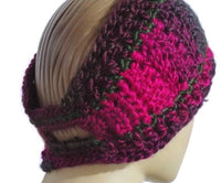 Green, purple, fuchsia ear warmer, crochet headband, woman size, THE LUSH ORCHID HEADBAND, must-have, holiday gift