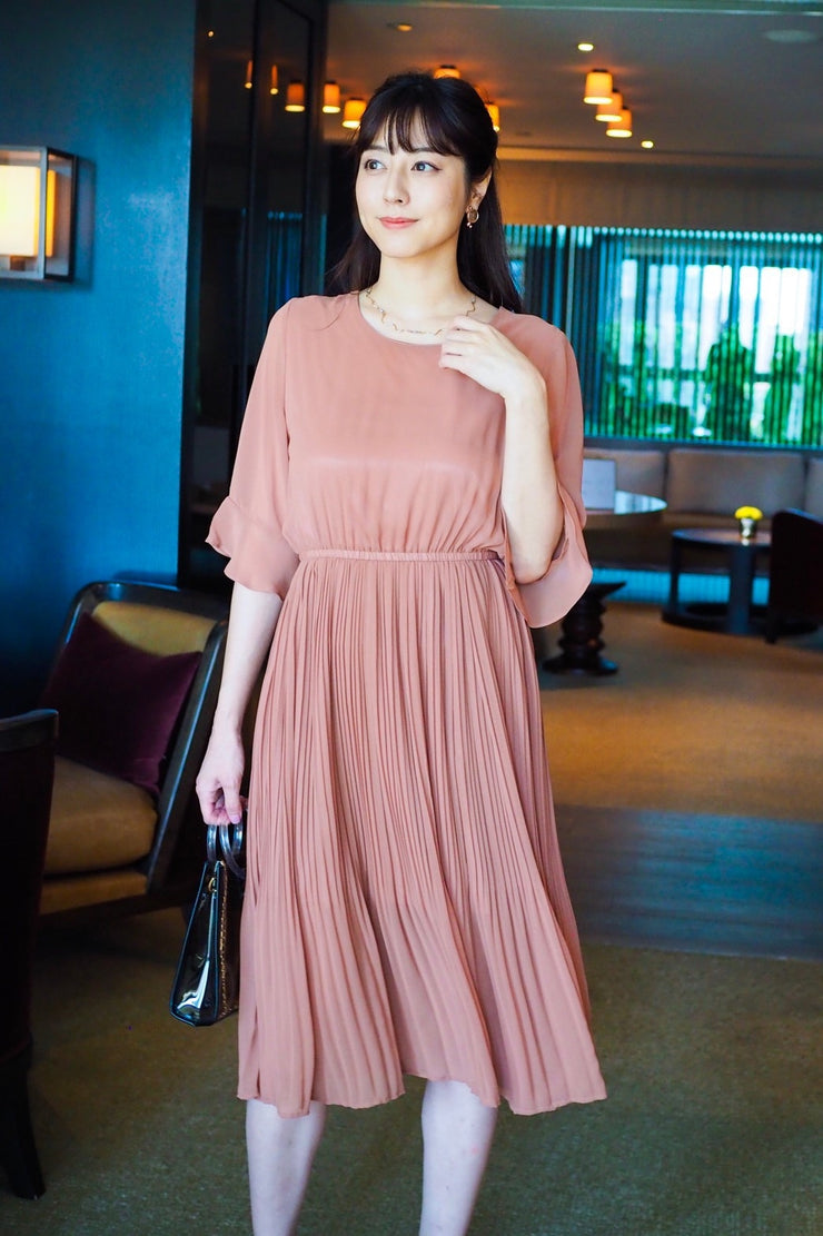 Chiffon Pleated Dress [Orange/Black]