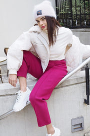 Knit pants 【pink/white】