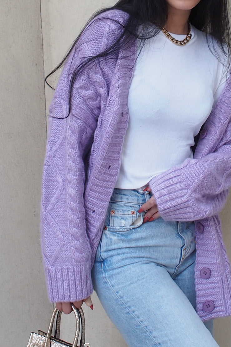 Cable Stich Oversized Cardigan【ivory/purple】